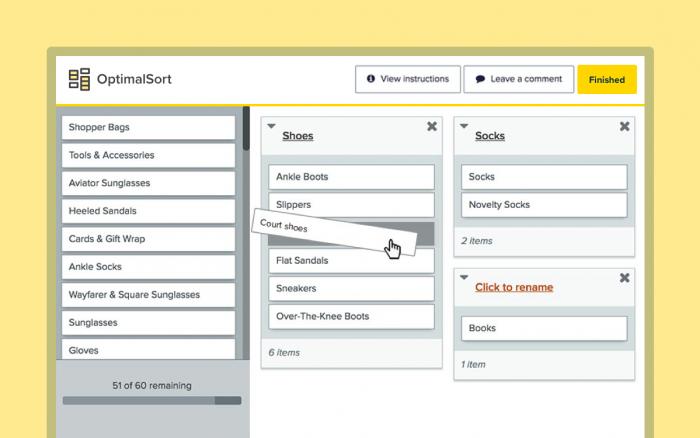Screenshot of card sorting tool OptimalSort