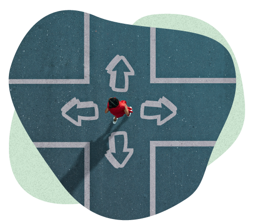 Birds eye view of a woman in a red dress standing in the middle of four arrows deciding which path to take.
