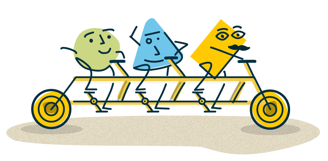Abstract illustration of three brightly coloured shapes smiling and waving while riding a tandem bike