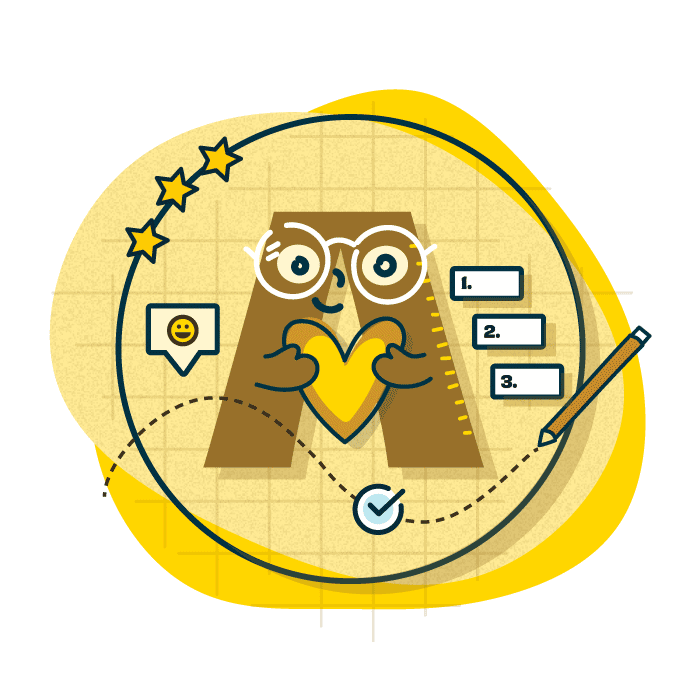 Illustration of a character in the shape on A, holding a bright yellow heart. It has warm facial expression, glasses and is surrounded by other illustrations of stars, checkboxes and smiling emoji's
